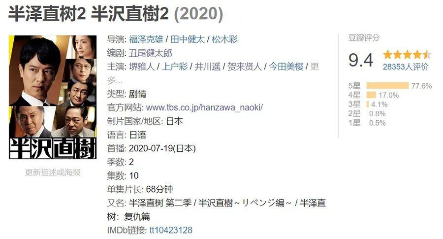 不愧是日本年度神作,播到只剩一集稳拿9.4分!