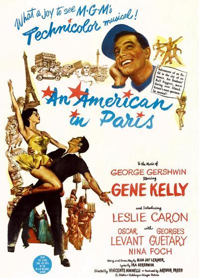 一个美国人在巴黎海报