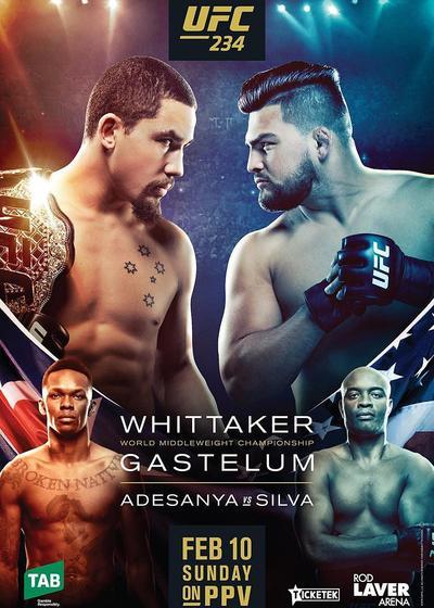 UFC 234: 阿迪萨亚 vs. 安德森席尔瓦海报